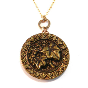 BRONZE GRAPEVINE - Antique Button Necklace - Gold