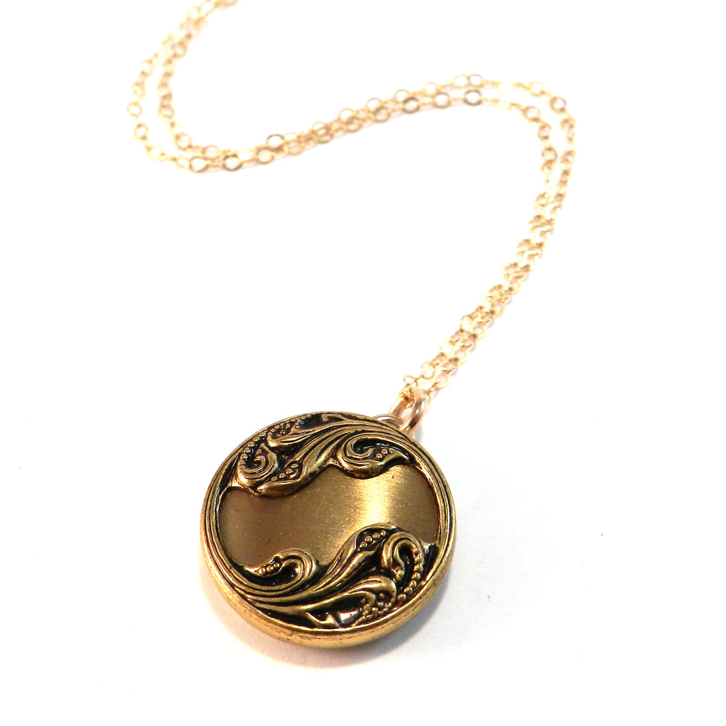 LILY SWIRL - Antique Button Necklace - Gold