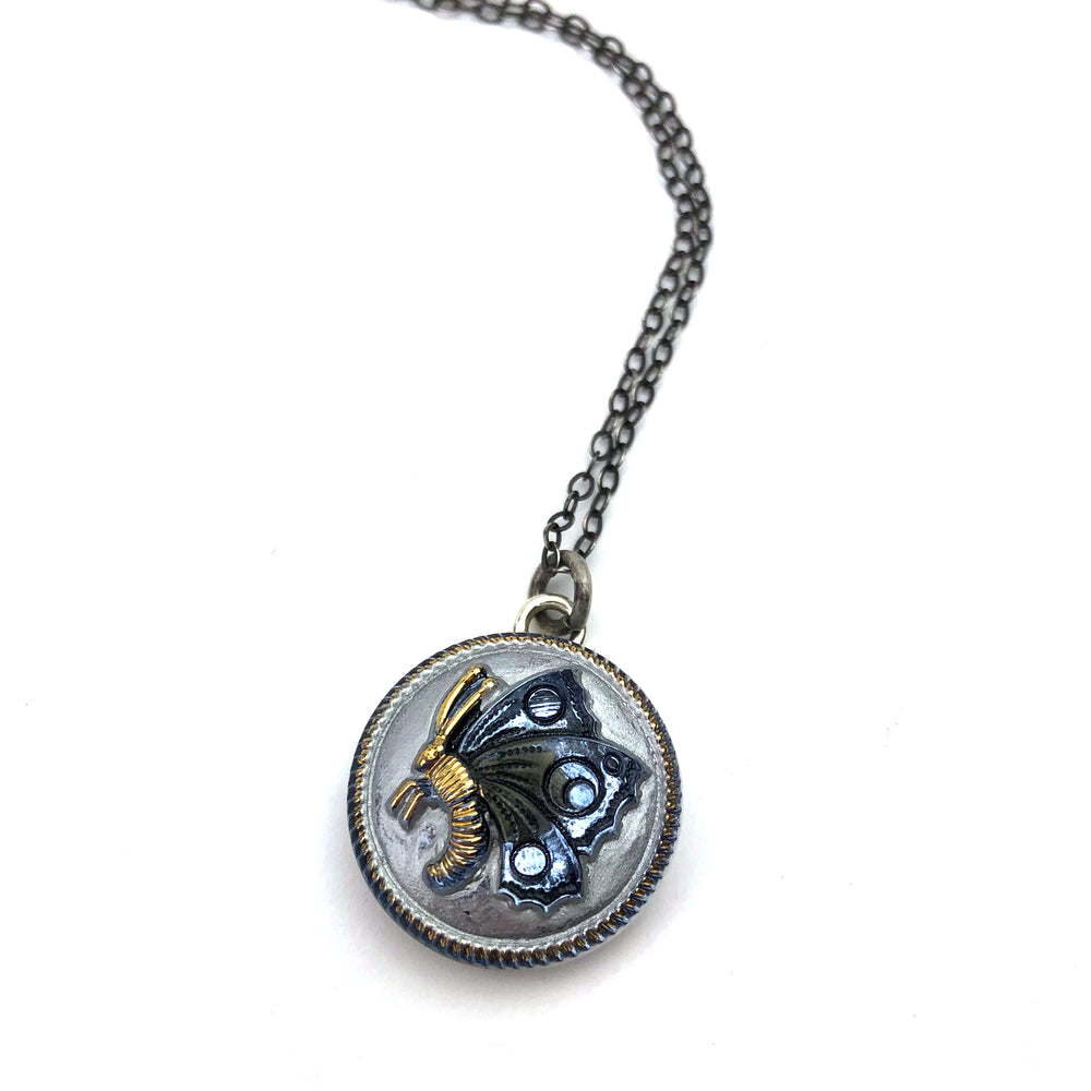 Blue Sky Butterfly Bohemian Glass Vintage Button Necklace - Silver