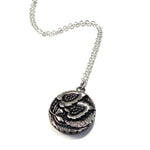 Pair of Blossoms - Vintage Button Necklace - Silver