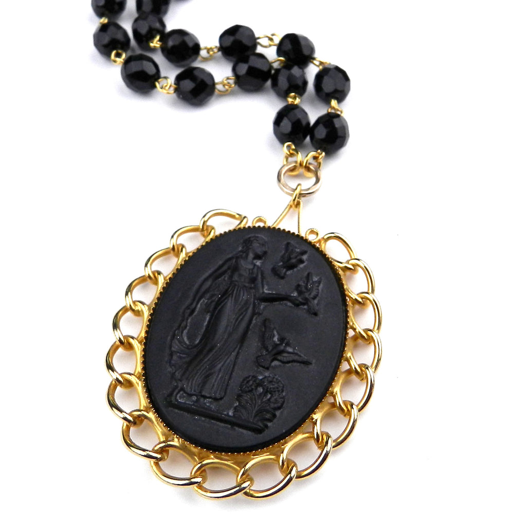 Vintage Black Glass Bohemian Cameo