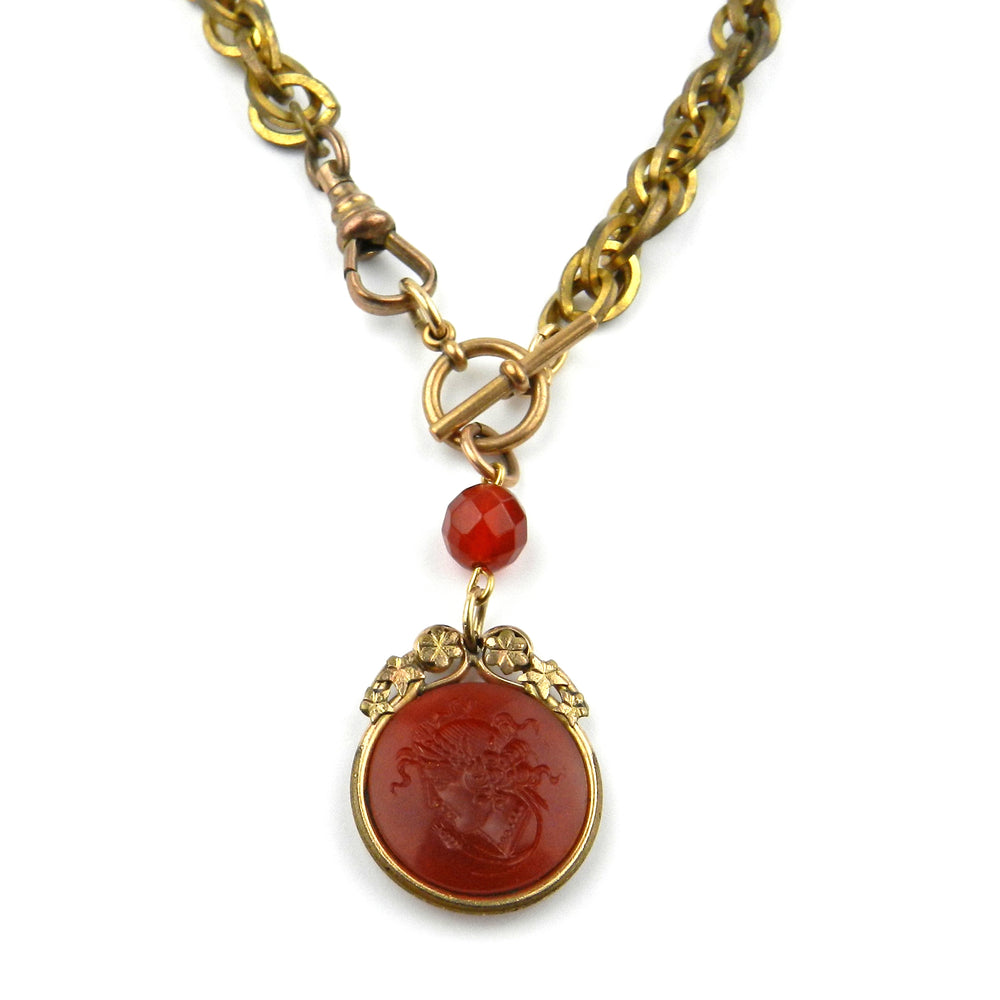 Earth Goddess Carnelian Neoclassical Watch Fob Necklace