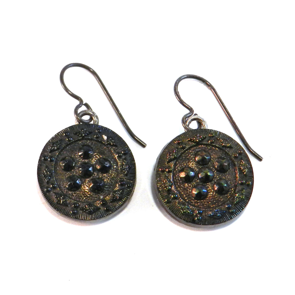 CARNIVAL STAR Antique Button Earrings - Silver