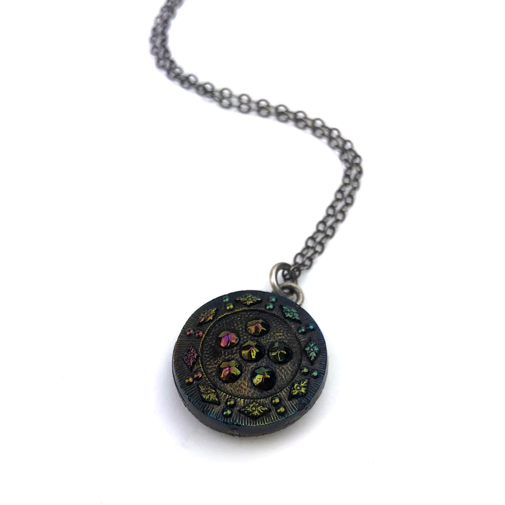 Shimmering Carnival Bohemian Glass Vintage Button Necklace - Silver