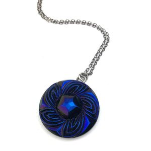 DEEP IRIS Bohemian Carnival Button Necklace Silver