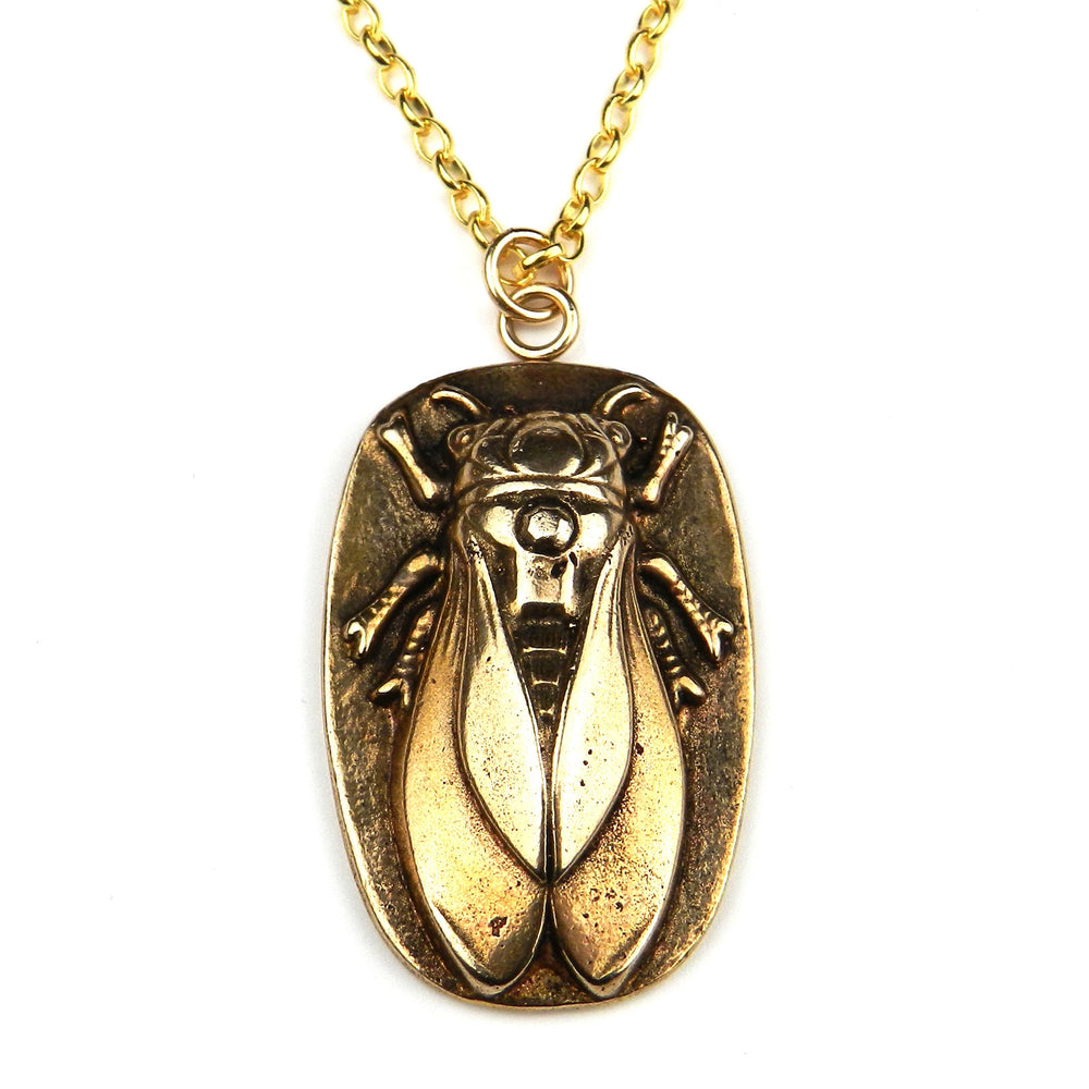 CICADA Vintage Button Necklace - GOLD