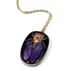 CICADA Vintage Button Necklace - Royal Violet - GOLD