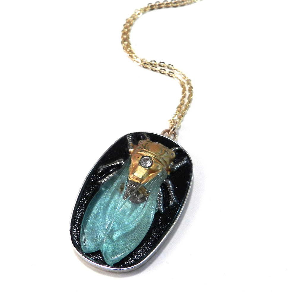 CICADA Vintage Button Necklace - Turquoise - GOLD