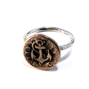 SHIPS ANCHOR Classic Antique Button Ring - MIXED METAL