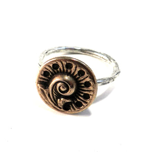SPRING FERN Antique Button Ring - MIXED METAL