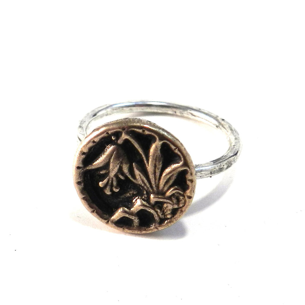 LILY Antique Button Ring - MIXED METAL