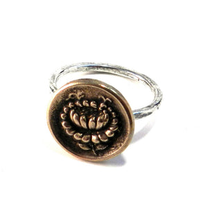LOTUS Antique Button Ring - MIXED METAL