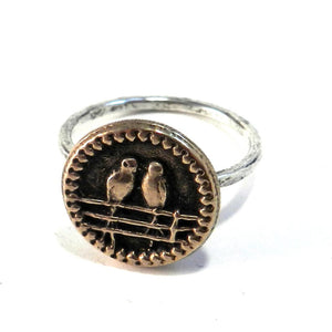 LOVEBIRDS Antique Button Ring - MIXED METAL