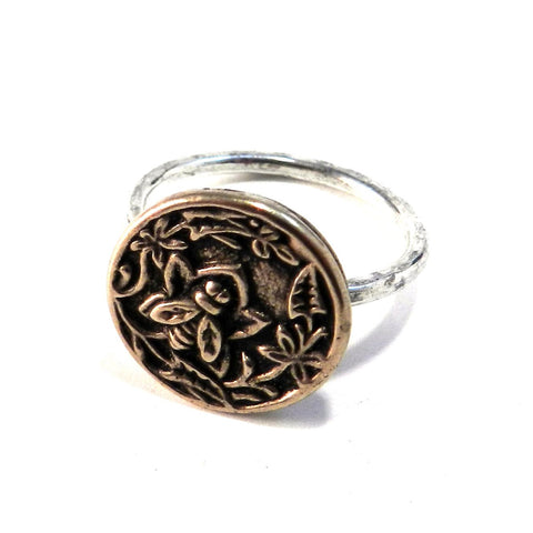 NECTAR Antique Button Ring - MIXED METAL