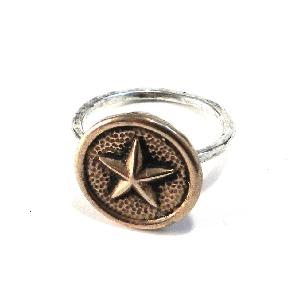 STAR Antique Button Ring - MIXED METAL