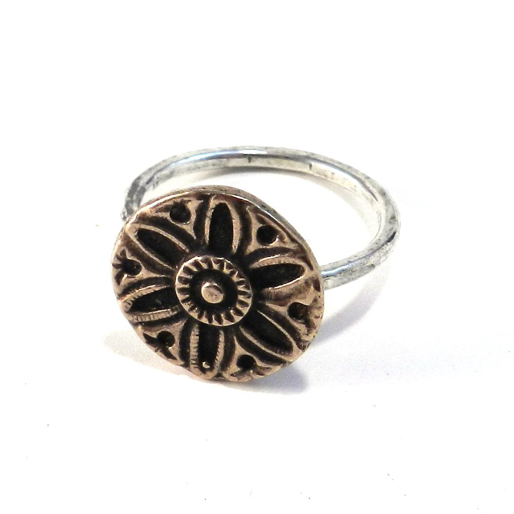 SUNFLOWER / SUNLIGHT Vintage Button Ring - MIXED METAL