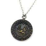 Antony & Cleopatra - Sterling Silver Antique Button Necklace