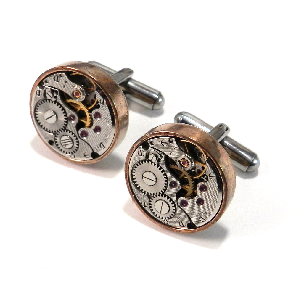 Clockwork Cuff Links - Bronze Bezel