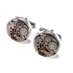 Clockwork Cuff Links - Sterling Bezel