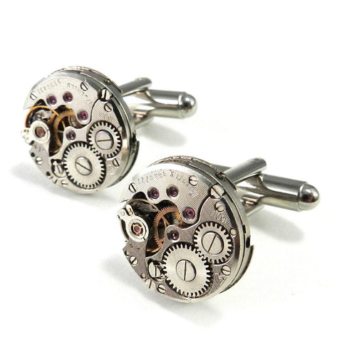 Watch Movement Cufflinks - Round - on Solid Sterling