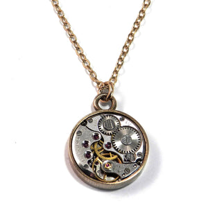 Round Clockwork Necklace - GOLD Bezel