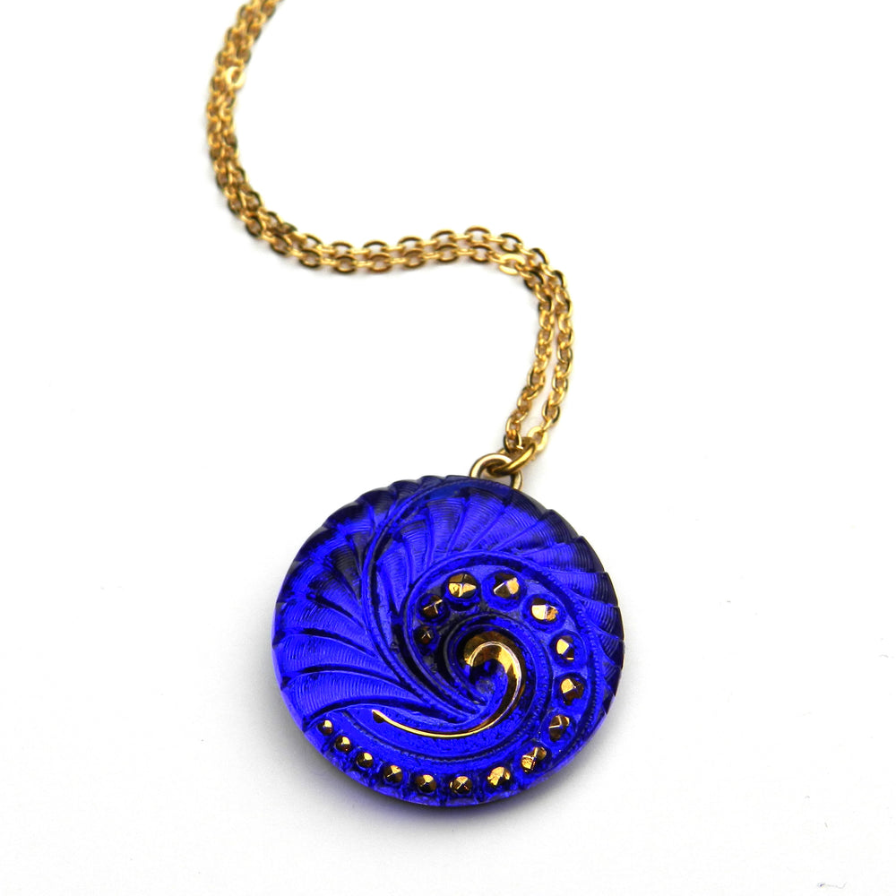 COBALT SPIRAL Vintage Button Circlet Necklace - GOLD
