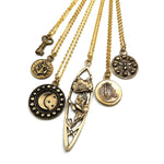 SET SAIL Antique Button Necklace - GOLD