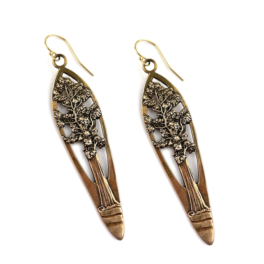 REDWOOD TREE Vintage Teaspoon Earrings - GOLD