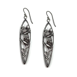California Poppy Teaspoon Earrings - SILVER