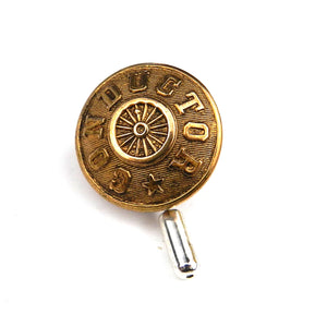 Conductor - Vintage Railroad Button Lapel Pin Hat Pin - Brass Wheel