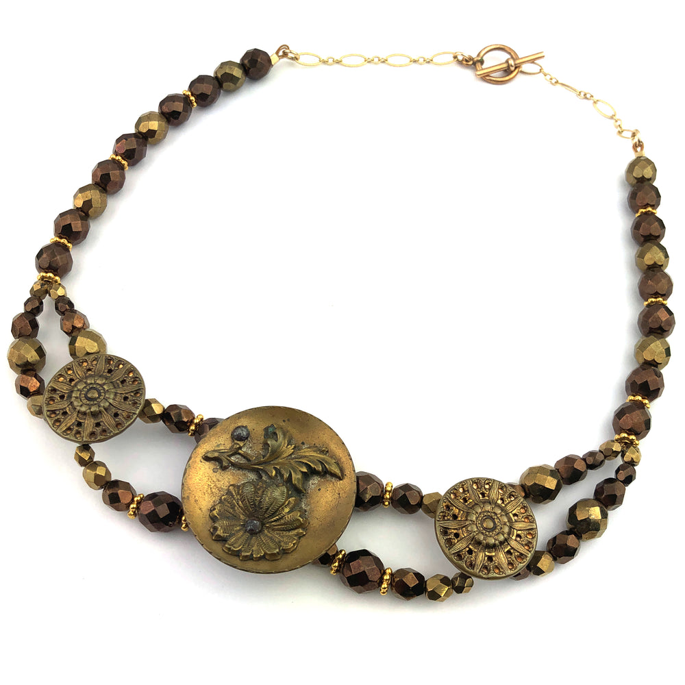 Antique Button Necklace - Ornate Beaded Golden Bronze