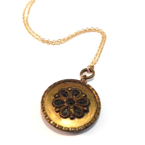 CRYSTAL MANDALA - Antique Button Necklace - Gold