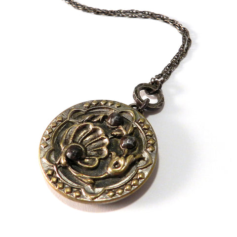 Oceana - Sterling Silver Antique Button Necklace