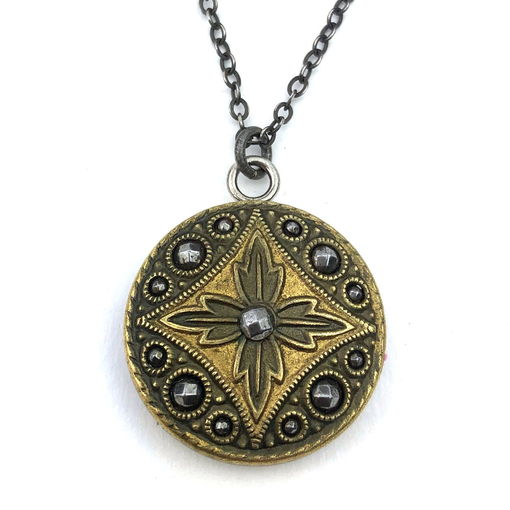 Cut Steel Diamond Star Vintage Button Necklace