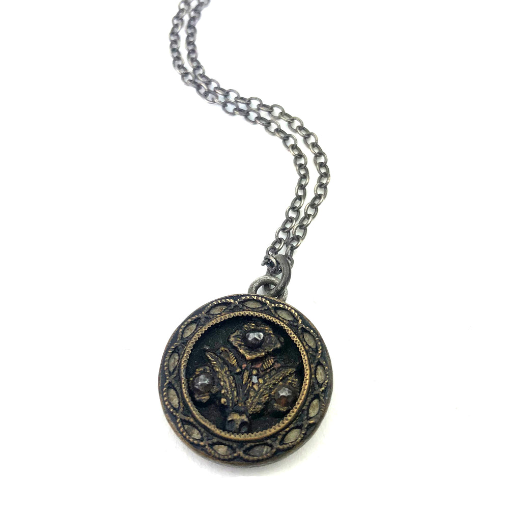 Cut Steel Triple Blossom Vintage Button Necklace