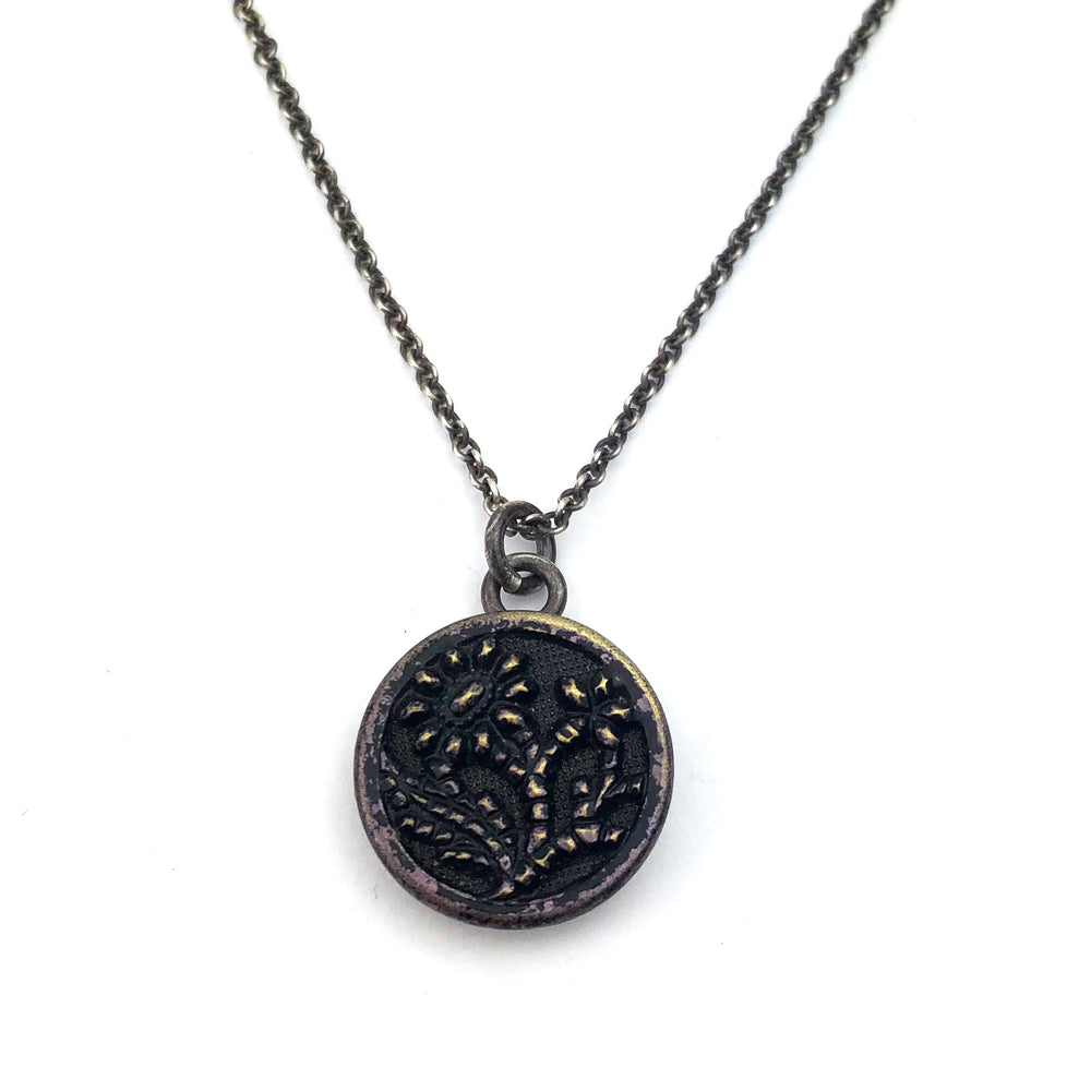 INDIGO BLOSSOM Vintage Button Necklace - Silver