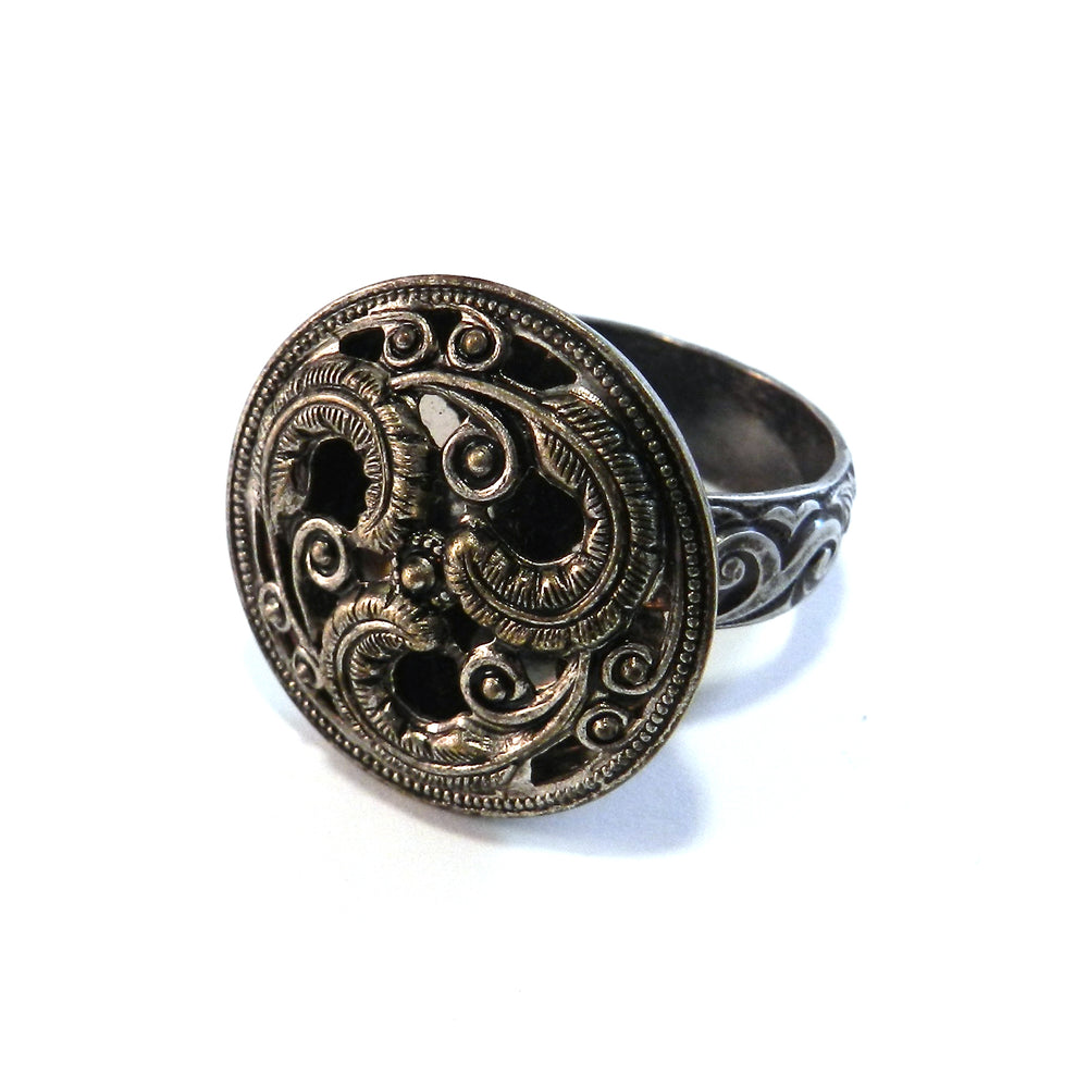 Silver Trilogy - Antique Button Ring - Size 10