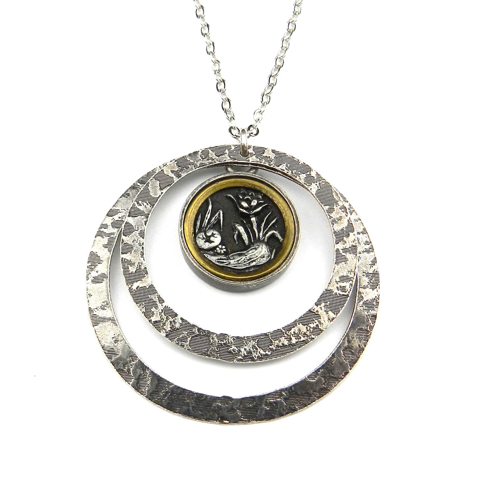 Silver Nouveau Mirror Antique Button Necklace - Echo