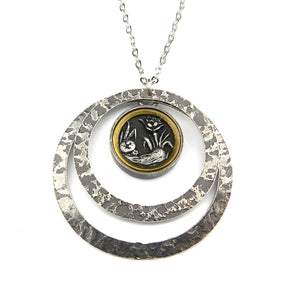 Victoria Botanica Mirror Antique Button Necklace - Echo