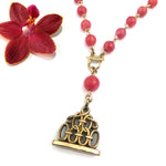 Victorian Wax Seal Watch Fob Necklace - Rhodochrosite