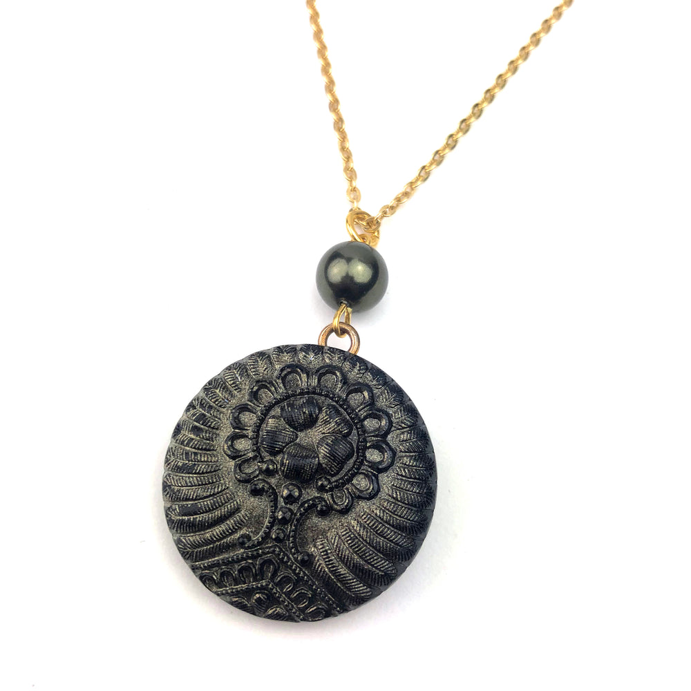 Deep Forest Bohemian Button Necklace - Gold