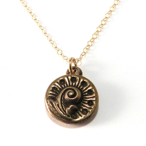 SPRING FERN Antique Button Necklace - Bronze