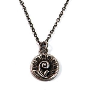 FERN / NAUTILUS Antique Button Necklace - SILVER