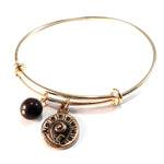 SPRING FERN Antique Button Bangle Charm Bracelet - BRONZE