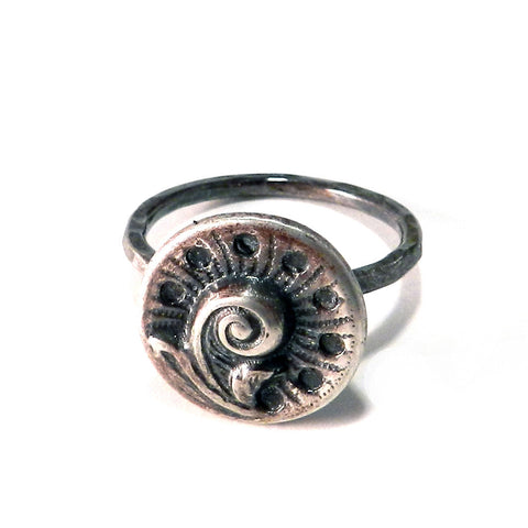 Spring Fern Antique Button Ring - Sterling Silver