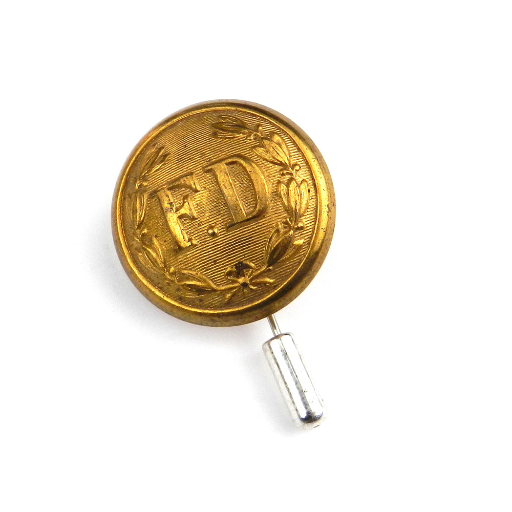Fire Department - Vintage Button Lapel Pin Hat Pin - Brass