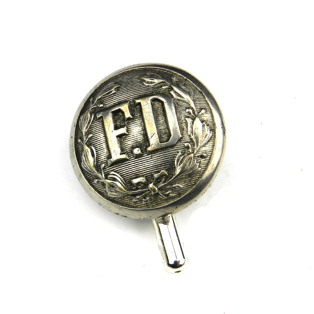 Fire Department - Vintage Button Lapel Pin Hat Pin - Steel