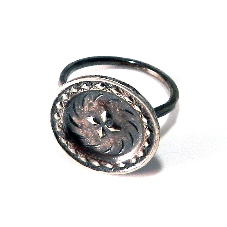 FOUR DIRECTIONS Antique Button Ring - Sterling Silver