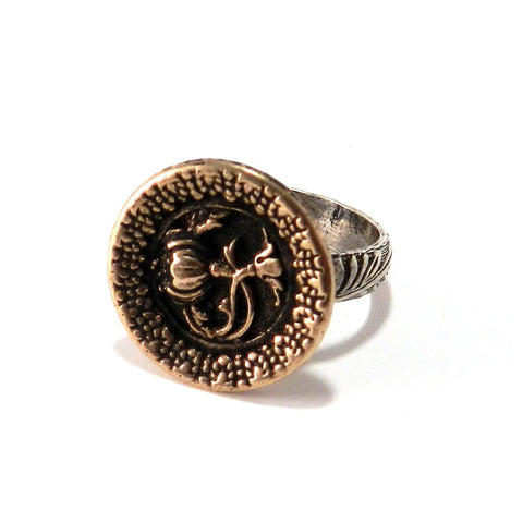 FRENCH ROSE Antique Button Statement Ring - MIXED METAL