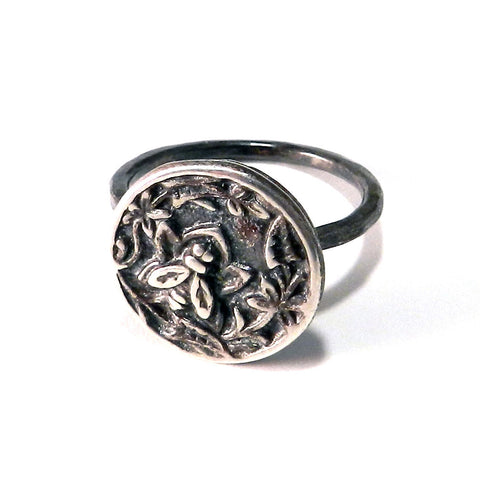 Nectar Antique Button Ring - Sterling Silver